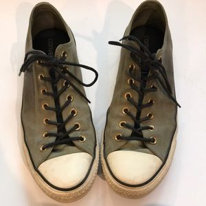 Converse leather olive all star shoes